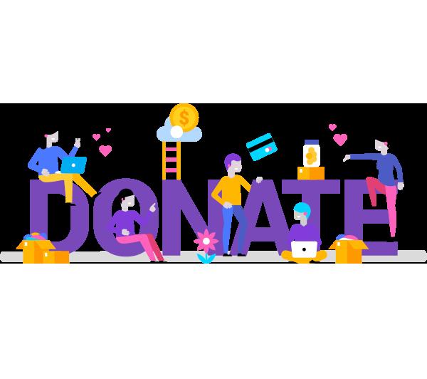 illustration saying donate