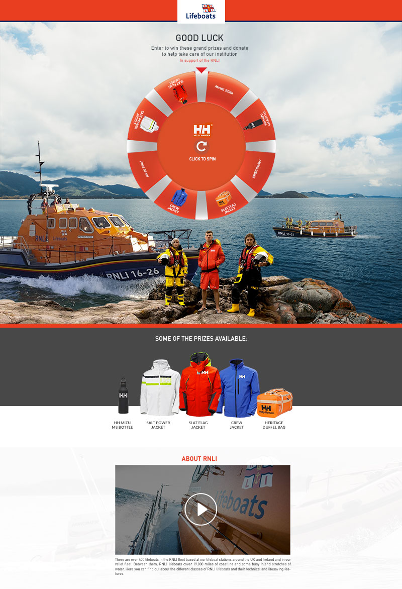 RNLI spin wheel fundraising promotion example